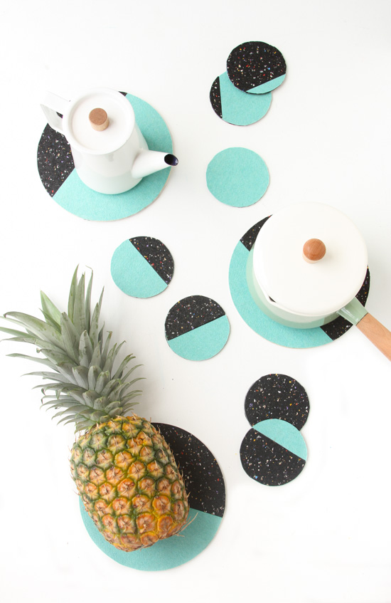 DIY Moon Phases Color Blocked Coasters + Trivets