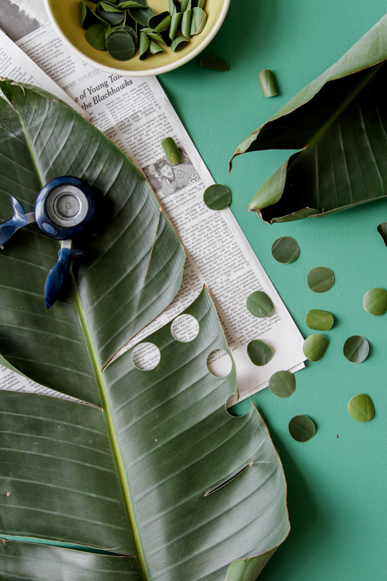 DIY palm frond confetti