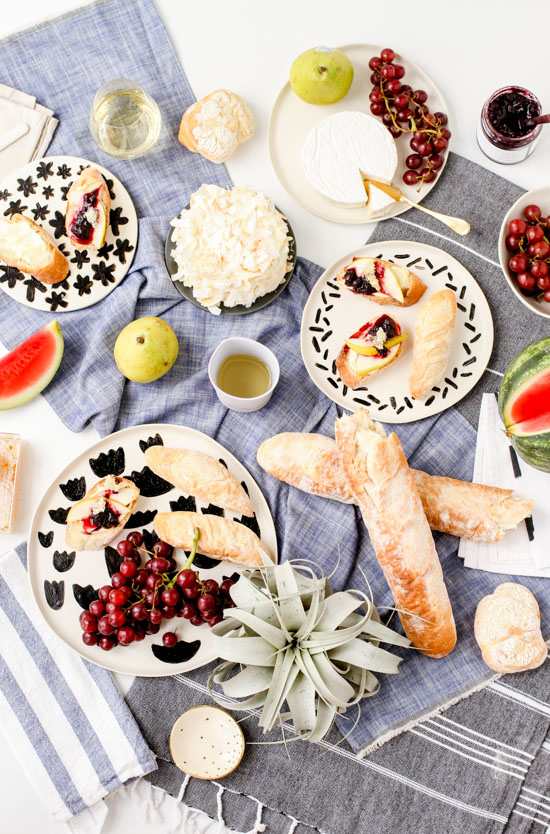 DIY Pattern Plates and Blueberry Pear Crostini Recipe