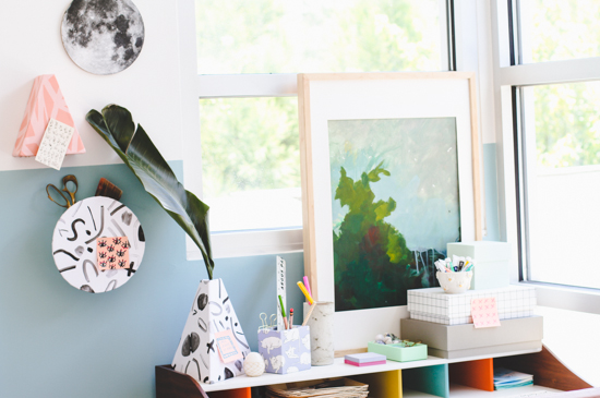 DIY Geometric Wall Cubbies to Keep Your Office Organized for $5 or Less