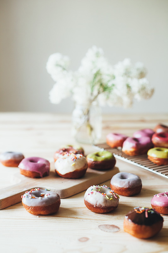Biscuit Donuts with Naturally Colored Glazes