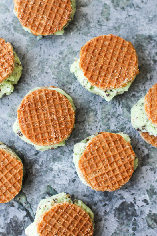 Mini Waffle Ice Cream Sandwiches