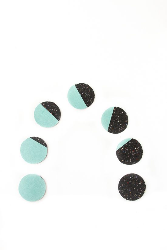 DIY Moon Phases Color Blocked Coasters