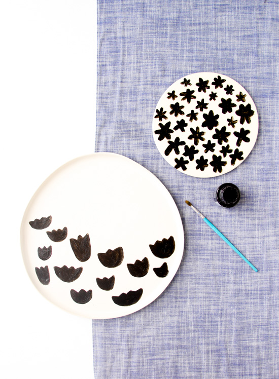 Summer Entertaining: DIY Pattern Plates and Blueberry Pear