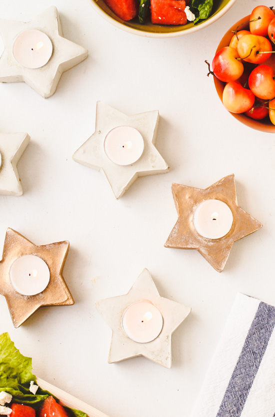 DIY Concrete Star Shaped Candle Votives for Summer Entertaining