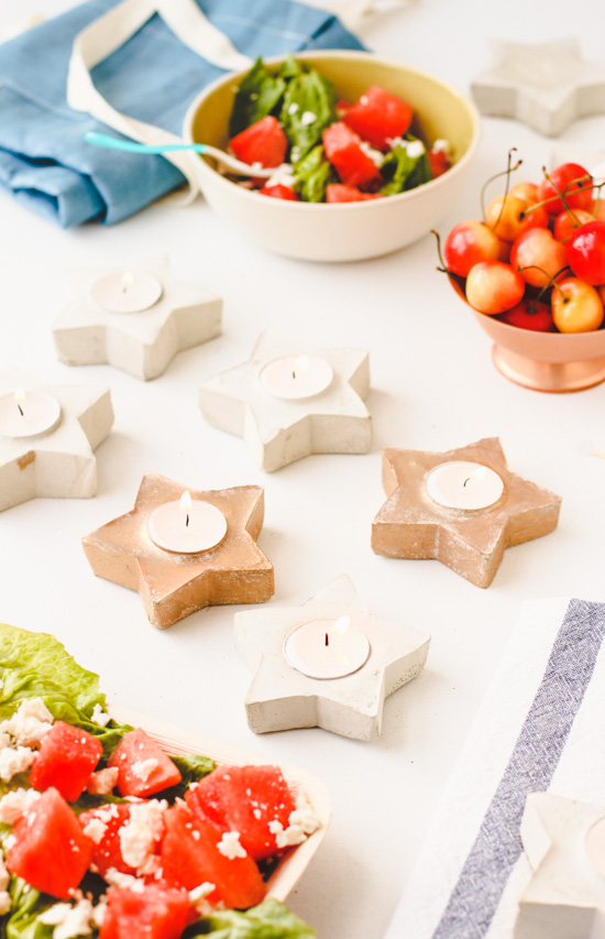 DIY Concrete Star Votives for July 4th
