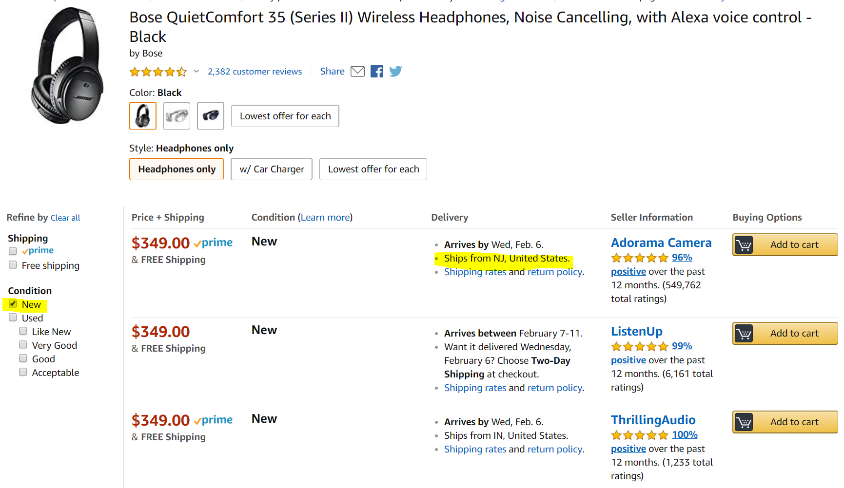 Third party offers for Bose QuietComfort 35