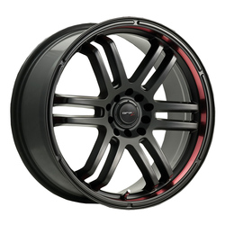 Drifz Wheels 207B FX - Carbon Black with Red Stripe On Lip Rim - 16x7