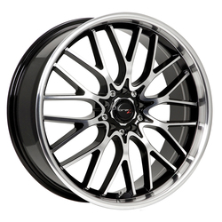 Drifz Wheels 302MB Vortex - Gloss black w/ Machined face and lip Rim - 16x7