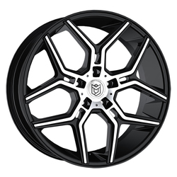 Dropstars Wheels 651MB - Gloss Black w/ Mirror Machined Face - 22x10.5