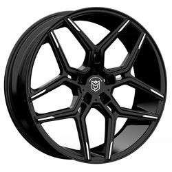 Dropstars Wheels 651MBT - Gloss Black w/ Mirror Machined Spoke Tips Rim