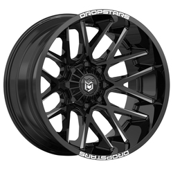 Dropstars Wheels 654BM - Gloss Black w/ CNC Milled Accents - 22x14