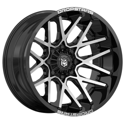 Dropstars Wheels 654MB - Gloss Black w/ Mirror Machined Face - 22x14