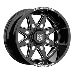 Dropstars Wheels 655BM - Gloss Black w/ CNC Milled Accents - 22x14