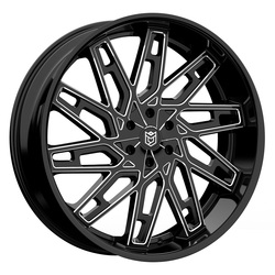 Dropstars Wheels 656BM - Gloss Black w/ CNC Milled Accents Rim - 26x10