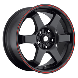 Focal Wheels 421 X - Matte Black w/ Red Stripe Rim - 15x6.5