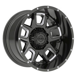 Gear Offroad Wheels 743BM Armor - Gloss Black w/CNC Milled Accents Rim