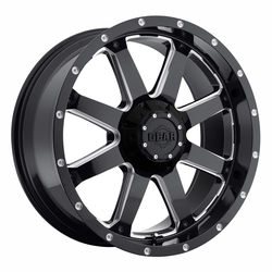 Gear Offroad Wheels 726MB Big Block - Gloss Black w/Milled Accents Rim - 18x9