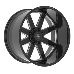 Gear Alloy Wheels F70BM1 Forged - Gloss Black w/Milled Accents - 22x12