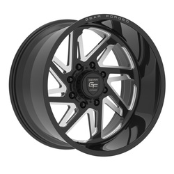 Gear Alloy Wheels F72BM1 Forged - Gloss Black w/Milled Accents - 22x12