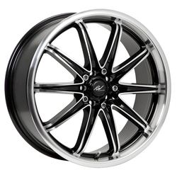 ICW Racing Wheels 214MB Tsunami - Gloss Black w/Mirror Machined Lip & Spoke Accents Rim