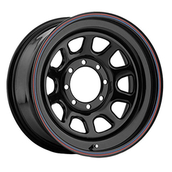 Pacer Wheels 342B Daytona - Black w/Red & Blue Pin Stripes Rim - 16x10