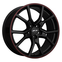 IPA Wheels 1FK - Black / Red Pinstripe Rim