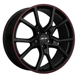 IPA Wheels 1FK - Black / Red Pinstripe