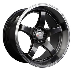 XXR Wheels 555 - Hyper Black / Machined Lip Rim
