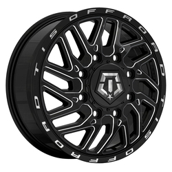TIS Wheels 544BM Dually Front - Gloss Black w/Milled Accents Rim