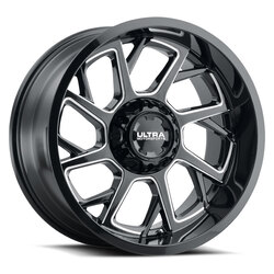 Ultra Wheels 120 Patriot - Gloss Black with Milled Accents and Clear Coat Rim