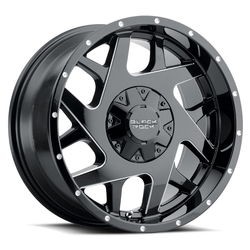Black Rock Wheels Fury II 935B - Gloss Black with Milled Edges Rim