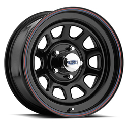 Cragar Wheels 342 D Window - Gloss Black w/Red & Blue Stripe Rim - 16x10