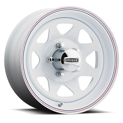 Unique Wheels 21 8 Spoke - White w/ Red and Blue Stripes Rim - 15x5