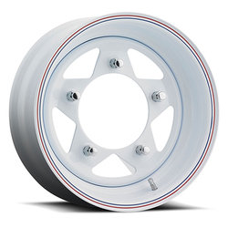 Unique Wheels 81 VW Baja - White w/ Red and Blue Stripes Rim - 15x5