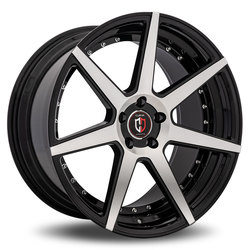 Curva Wheels C47 - Black with Machined Face Rim - 22x10.5