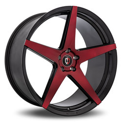 Curva Wheels C55 - Black with Machined Face/Red Tint Rim - 22x10.5