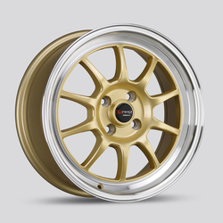 Drag Wheels DR16 - Gold with Machine Lip Rim - 15x8.25