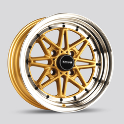 Drag Wheels DR20 - Gold/Machine Lip Rim