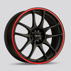 Drag Wheels DR31 - Flat Black with Red Stripe Rim - 15x6.5