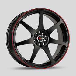 Drag Wheels DR33 - Flat Black with Red Stripe Rim