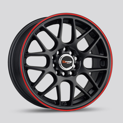 Drag Wheels DR34 - Flat Black with Red Stripe Rim