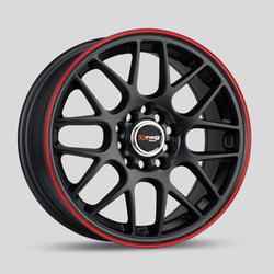 Drag Wheels DR34 - Flat Black with Red Stripe Rim