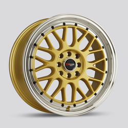 Drag Wheels Drag Wheels DR44 - Gold with Machine Lip with Black Rivets