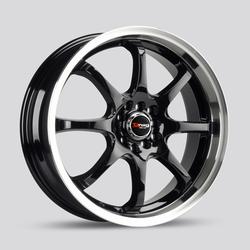 Drag Wheels DR55 - Gloss Black with Machined Lip Rim