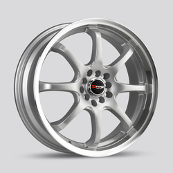 Drag Wheels DR55 - Silver with Machined Lip Rim - 18x7