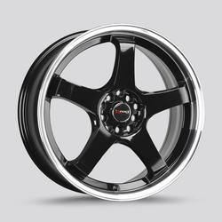 Drag Wheels DR63 - Gloss Black with Machined Lip Rim