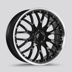 Drag Wheels DR75 - Gloss Black with Machined Lip Rim