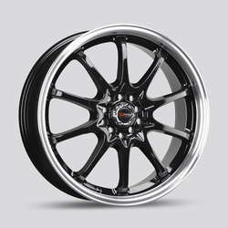 Drag Wheels DR9 - Gloss Black with Machined Lip Rim - 17x7