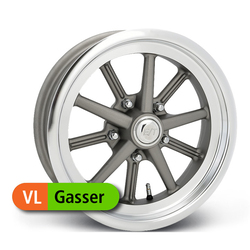 E-T Wheels Gasser Value - Painted Gray/Diamond Lip Rim - 15x4.50